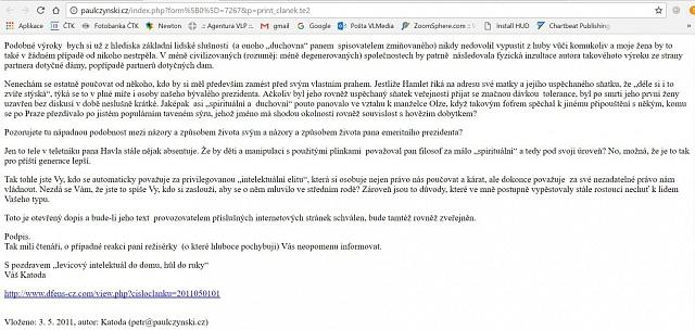 'kde se vzala moje mailová adresa za jménem Katoda, skutečně nevím,' tvrdí Petr Paulczynski