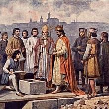 Karel IV. a základní kámen nového kamenného mostu přes řeku Vltavu místo poškozeného Juditina mostu 1357.