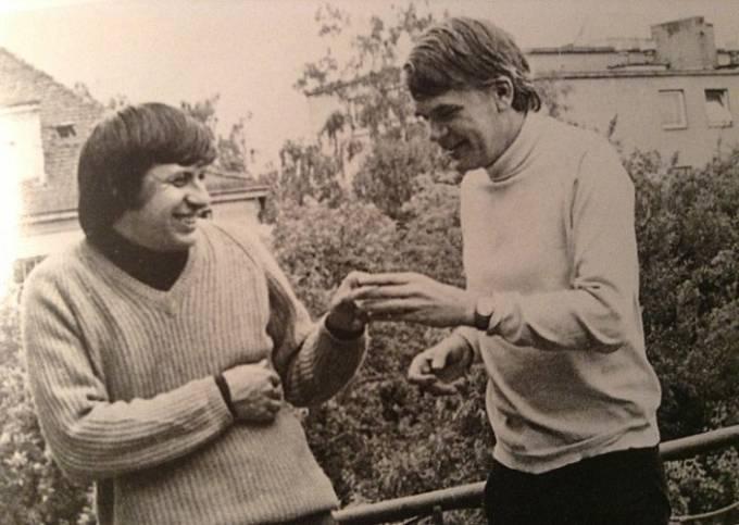 Ivan Klíma s Milanem Kunderou, 70. léta