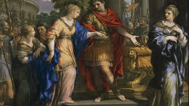 Caesar navrací moc Kleopatře. Její sestra Arsinoé (vpravo) závistivě přihlíží.