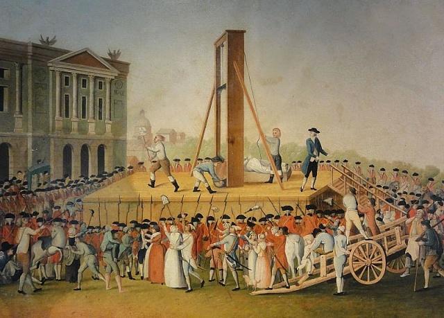 Kat ukazuje lidu hlavu popravené Marie Antoinetty