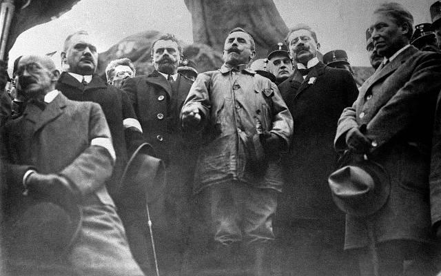Václav Jaroslav Klofáč, Josef Scheiner, Gustav Habrman a František Udržal 28. října 1918