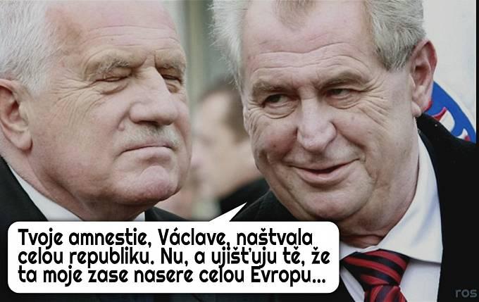 Některé vtipy kalkulují s možností milosti pro Andreje Babiše od Miloše Zemana