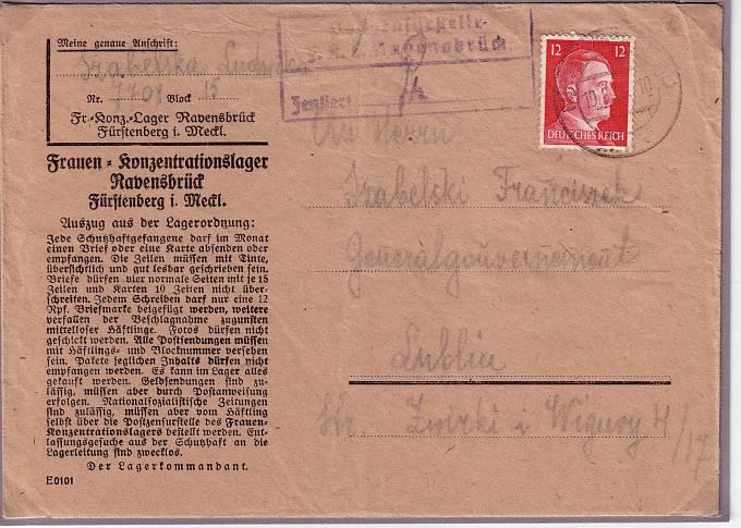 Dopis vězně z koncentračního tábora Ravensbrück (srpen 1943)
