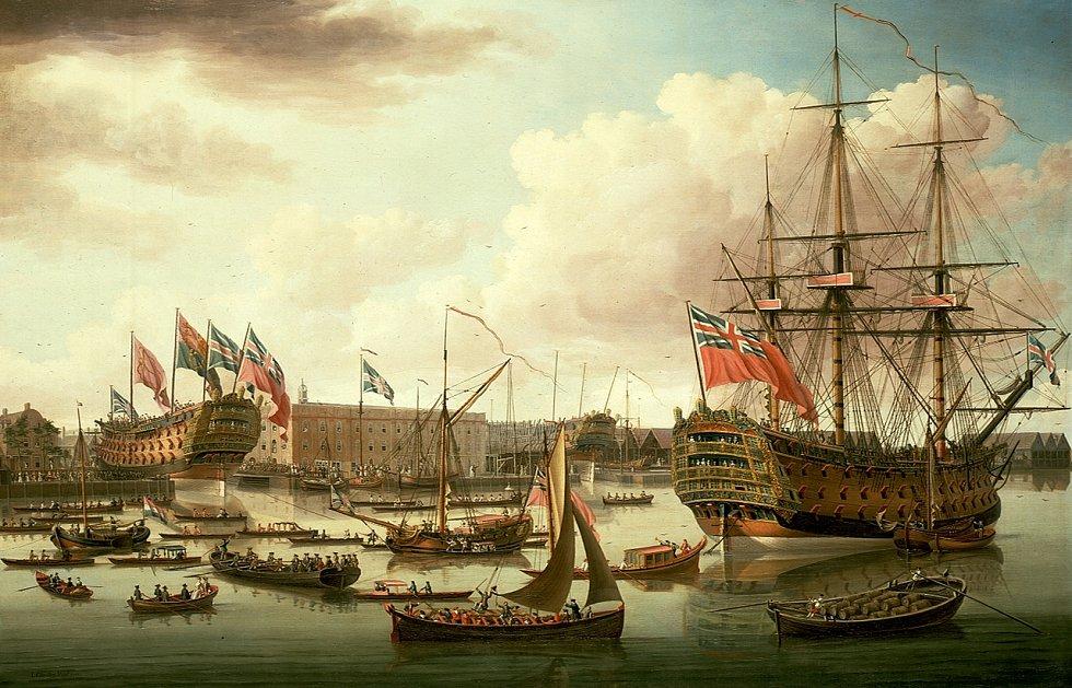 Fiktivní společné spuštění na vodu H.M.S. Cambridge (vlevo) a H.M.S. Royal George (vpravo).