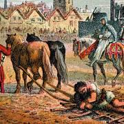 Scéna Wallaceovy popravy - ve skutečnosti byl skotský rebel ale nahý