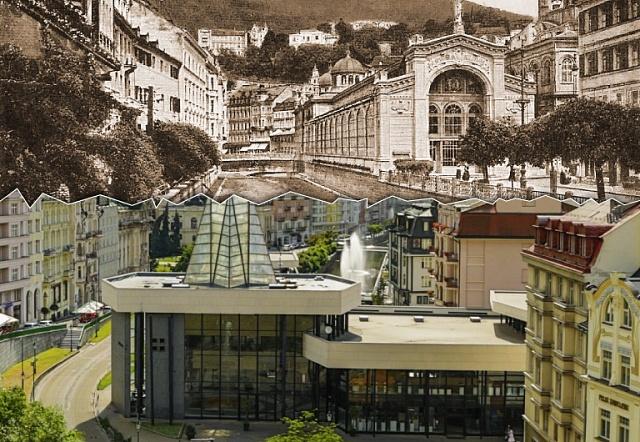 Vřídelní kolonáda vKarlových Varech: litinová konstrukce od slavného architektonického ateliéru Fellner&Helmer zroku 1882byla demontována vroce 1940.Následné dřevěné provizorium nahradila normalizační novostavba zroku 1975.