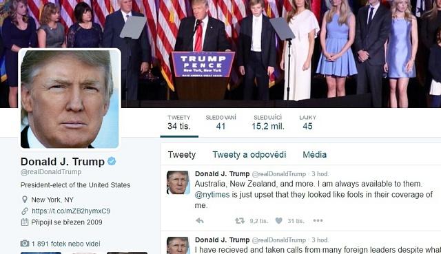 Donald J. Trump miluje tweetování.