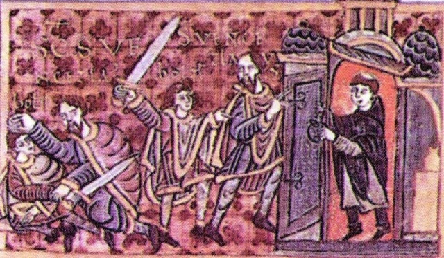 Václav se na zemi brání a utíká do kostela. Iluminace Gumpoldovy legendy.