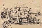 Satirická kresba Bedřicha Fritty: Terezín před inspekcí Červeného kříže