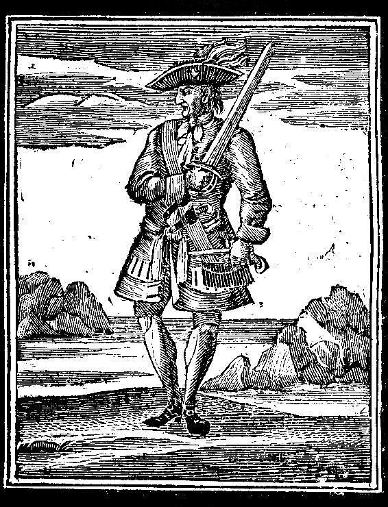 Jack Rakham alias slavný pirát Calico Jack. Návrh jeho vlajky se stal kultovním pro všechny piráty.