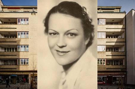 Anna Letenská; v pozadí její pražské bydliště
