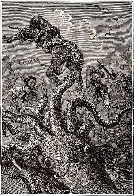 Kraken na ilustraci z knihy Dvacet tisíc mil pod mořem