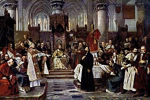 Obraz Václava Brožíka Mistr Jan Hus před koncilem kostnickým z roku 1883 visí na čestném místě na Staroměstské radnici v Praze.