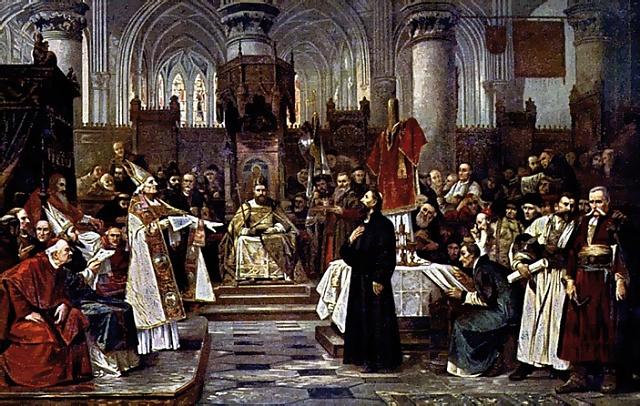 Obraz Václava Brožíka Mistr Jan Hus před koncilem kostnickým zroku 1883visí na čestném místě na Staroměstské radnici vPraze.