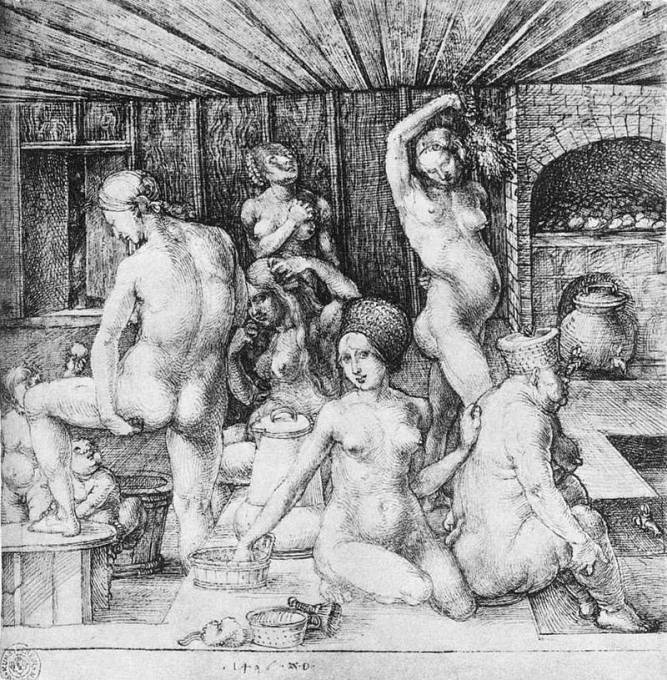 K osobní hygieně ve středověku postačila vědra s vodou. (Autor rytiny: Albrecht Dürer, 15. století)