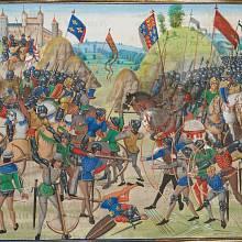 Kolorovaná iluminace bitvy u Kresčaku z manuskriptu Kronik Francie, Flander, Anglie, Skotska a Španělska Jeana Froissarta