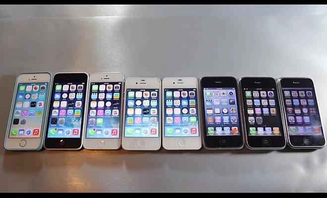 Evoluce iPhonů od 2G iPhone přes 3G, 3GS, 4, 4S, 5, 5C až po 5S