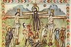 Vyobrazení Ježíšova ukřižování z r. 586