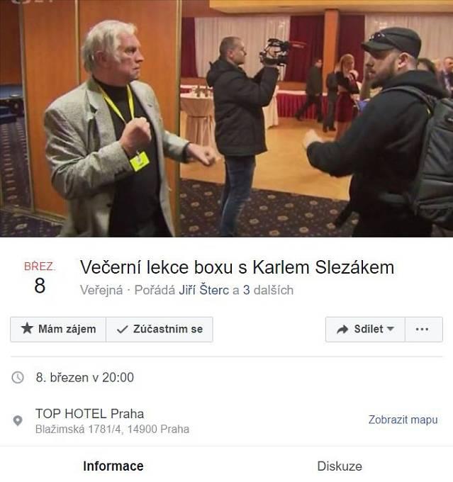 """Na Facebooku se objevila i řada """"událostí"""", jejichž protagonistou je """"boxer Slezák"""""""