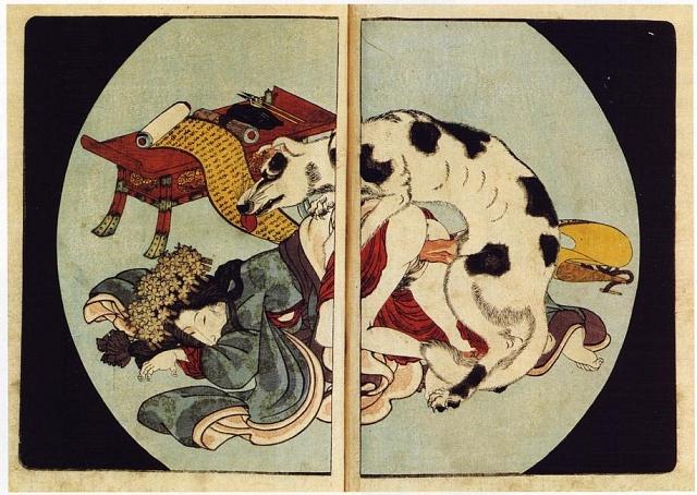 """Japonský deskotisk ztvorby Utagawa Kunisada, """"Osm psích hrdinů zdomu Satomi"""", 1837"""