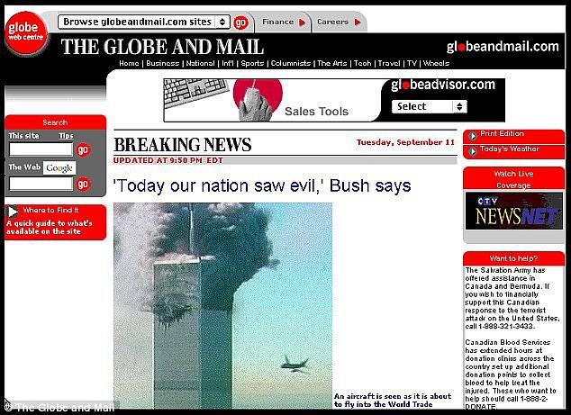 Webová stránka serveru Globe and Mail