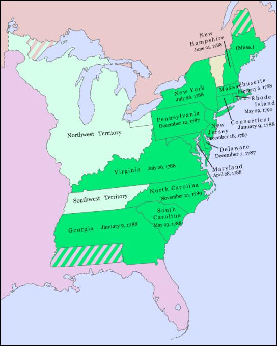 Původní kolonie, které Ústavu odsouhlasily.