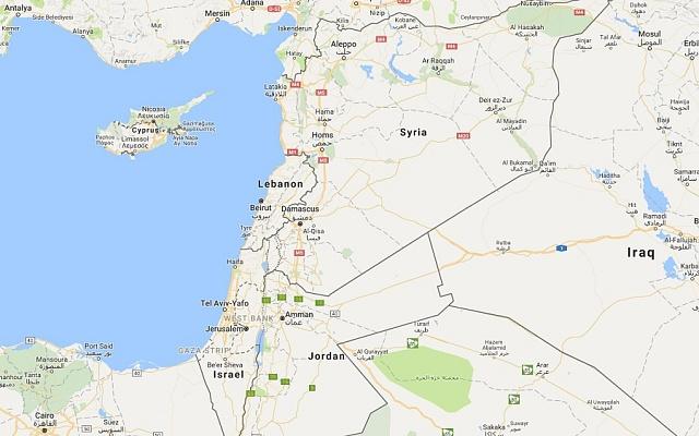 Mapa Sýrie a okolních států.