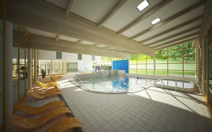 Vizualizace: Relaxační část s bazénem a vířivkou