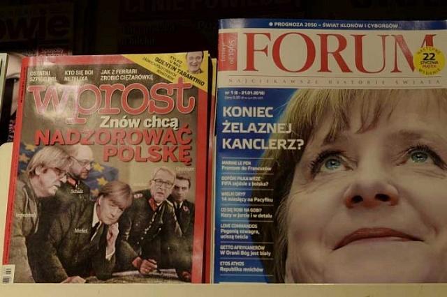 Angela Merkelová na titulních stránkách polských magazínů