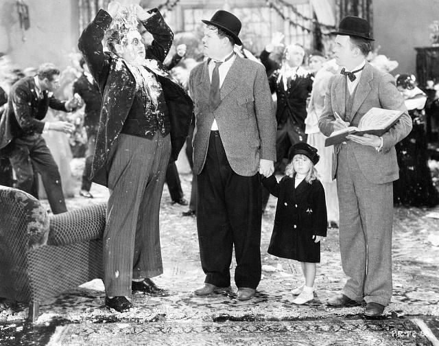 Šlehačková bitva Laurela a Hardyho vyvolávala salvy smíchu.