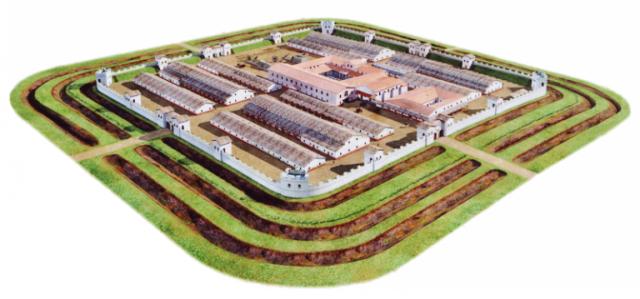 Rekonstrukce římského tábora při opevněné severní hranici impéria Limes Romanus