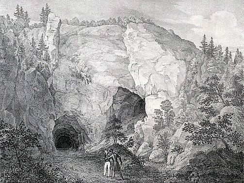 Kresba Býčí skály z roku 1933 (F.A.Kunike)