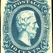 Portrét prezidenta Jeffersona Davise na poštovní známce z roku 1863