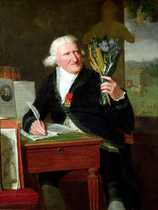 Antoine Parmentier si prohlíží rostliny z Nového světa (François Dumont, 1812)