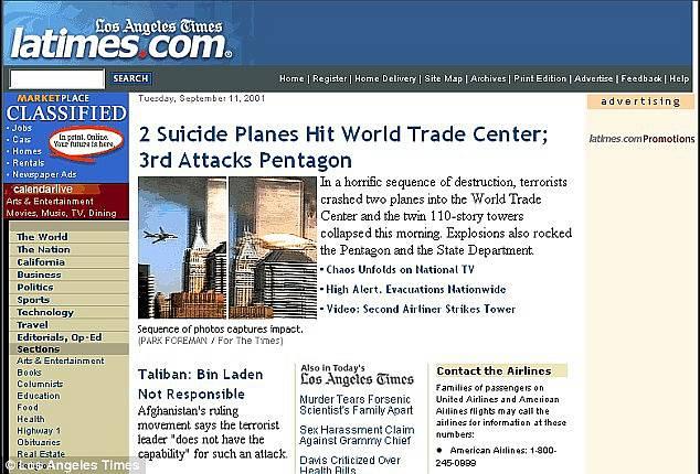 Webová stránka listu LA Times