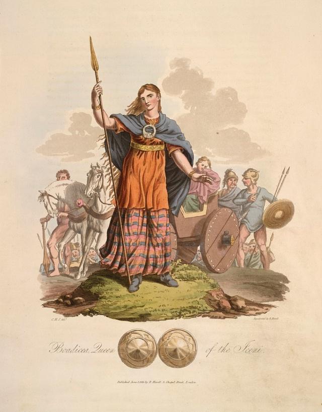 Královna Boudicca včele povstaleckého vojska