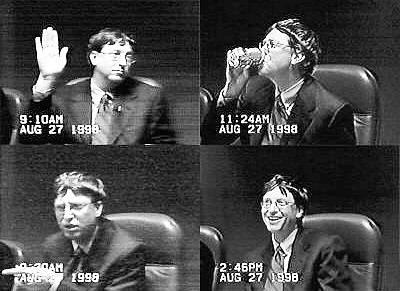 Bill Gates v roce 1998 vypovídal u soudu kvůli obvinění Microsoftu z porušení antimonopolního zákona.