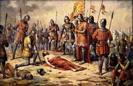 smrt Přemysla Otakara II na obraze Josefa Mathausera