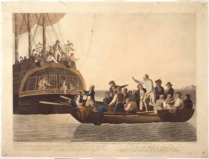Vysazení kapitána Blighe a 18 členů posádky do člunu na otevřené moře. Muž stojící nejvýš na palubě lodi je zřejmě vůdce vzpoury Fletcher Christian