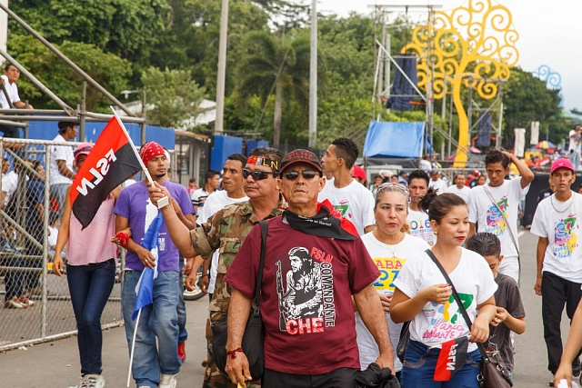 Červenec 2016.Lidé vnikaragujském hlavním městě Managua si připomínají 37.výročí vítězství sandinistické revoluce.