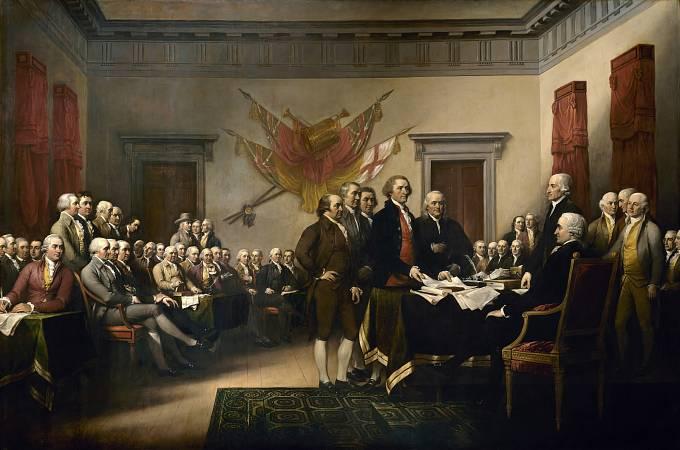 Přijetí Deklarace nezávislosti na obraze Johna Trumbulla z roku 1819