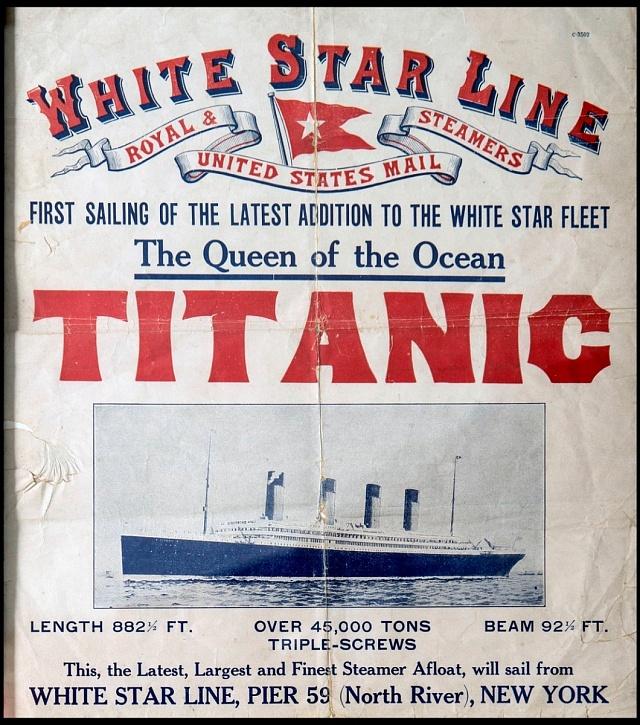 Velmi vzácný, finančně téměř nedostupný plakát, hlásající plavbu Titanicu, která již nikdy neproběhla…