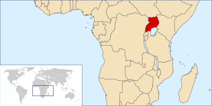 Pozice Ugandy v Africe