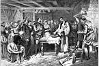 Křest Virginie Dare, prvního anglického dítěte narozeného v americké kolonii