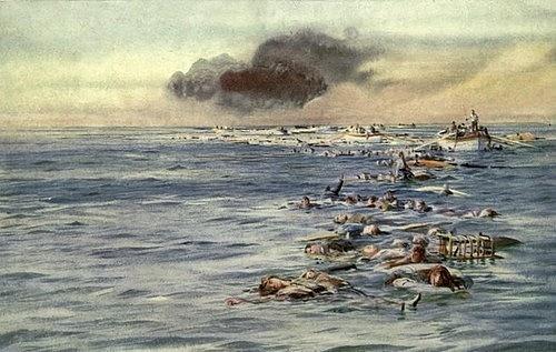 Oběti při torpédování parníku Lusitania německou ponorkou U-20vroce 1915.