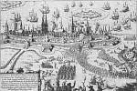 Valdštejnova vojska obléhají v roce 1628 Stralsund.