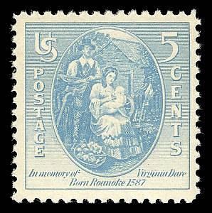 Americká známka z roku 1937: Virginia Dare, 1. anglické dítě narozené v americké kolonii