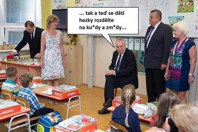 O čem se asi prezident České republiky baví s dětmi ve škole?