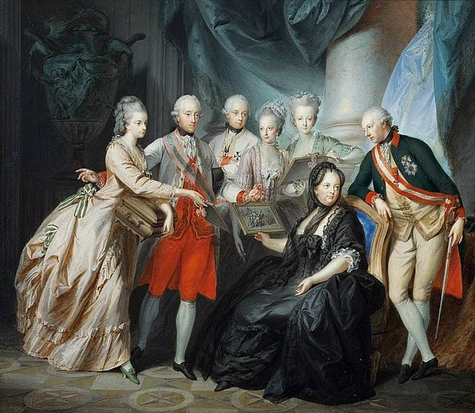 Marie Terezie s rodinou